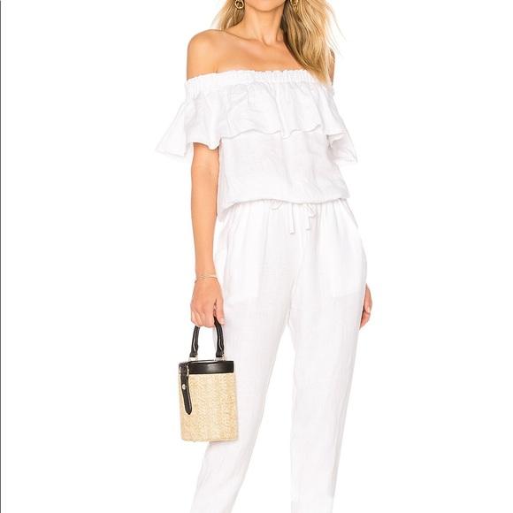 Worn once Revolve white linen jumpsuit